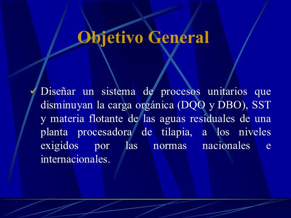 Objetivo General Diseñar un sistema de procesos unitarios que disminuyan la carga orgánica (DQO y DBO), SST y materia flotante de las aguas residuales