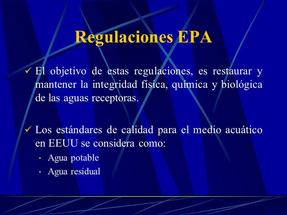 Regulaciones EPA El objetivo de estas regulaciones, es restaurar y mantener la integridad física, química y biológica de las aguas receptoras. Los est