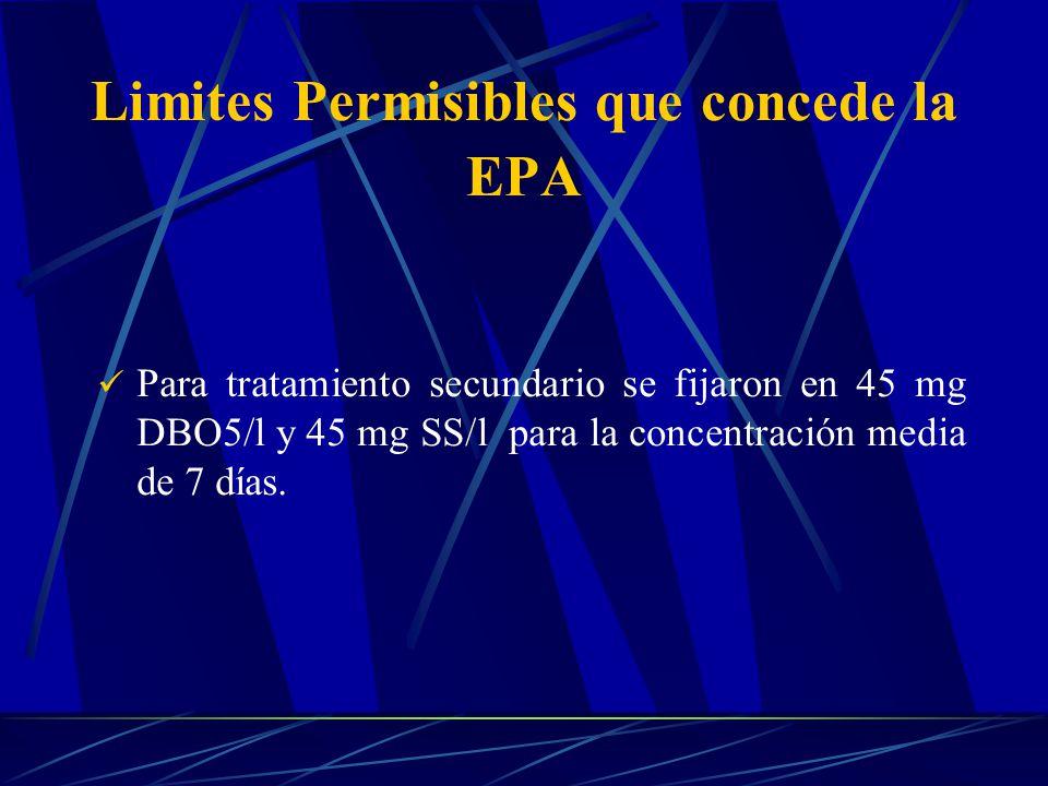 Limites Permisibles que concede la EPA Para tratamiento secundario se fijaron en 45 mg DBO5/l y 45 mg SS/l para la concentración media de 7 días.