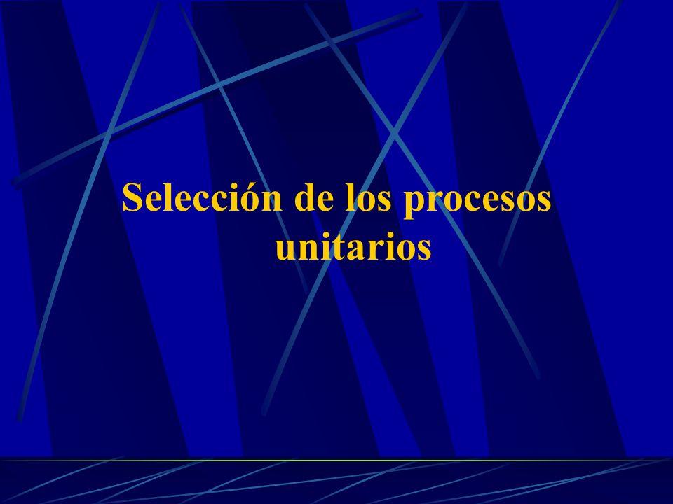 Selección de los procesos unitarios