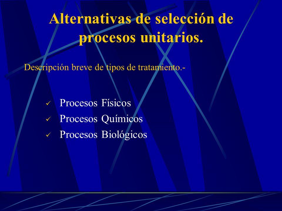 Alternativas de selección de procesos unitarios. Procesos Físicos Procesos Químicos Procesos Biológicos Descripción breve de tipos de tratamiento.-