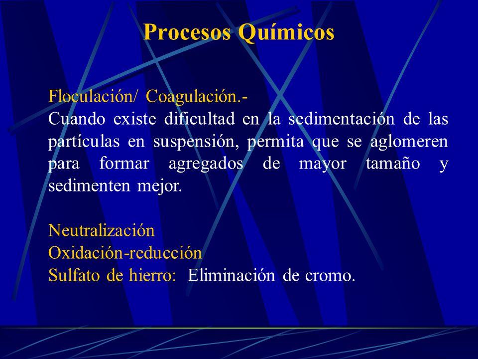 Procesos Químicos Floculación/ Coagulación.- Cuando existe dificultad en la sedimentación de las partículas en suspensión, permita que se aglomeren pa