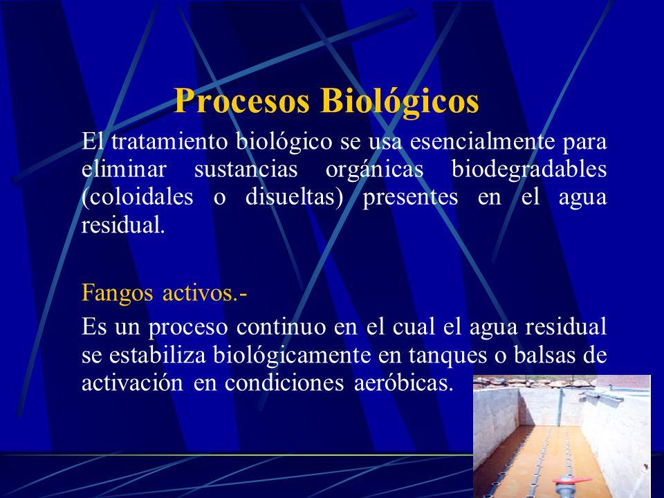 El tratamiento biológico se usa esencialmente para eliminar sustancias orgánicas biodegradables (coloidales o disueltas) presentes en el agua residual