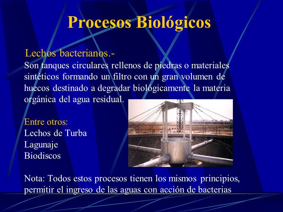 Lechos bacterianos.- Son tanques circulares rellenos de piedras o materiales sintéticos formando un filtro con un gran volumen de huecos destinado a d