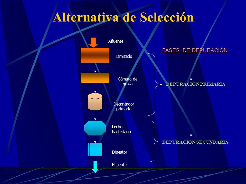Alternativa de Selección Afluente Tamizado Cámara de grasa Decantador primario Lecho bacteriano Digestor Efluente DEPURACIÓN PRIMARIA DEPURACIÓN SECUN