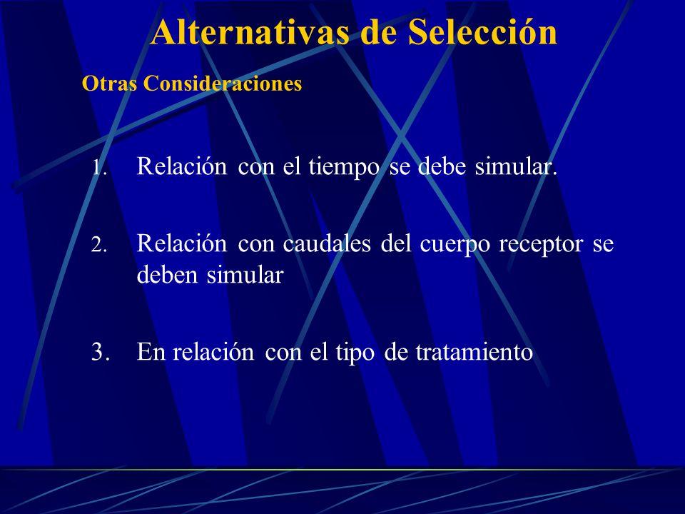 1. Relación con el tiempo se debe simular. 2. Relación con caudales del cuerpo receptor se deben simular 3.En relación con el tipo de tratamiento Otra