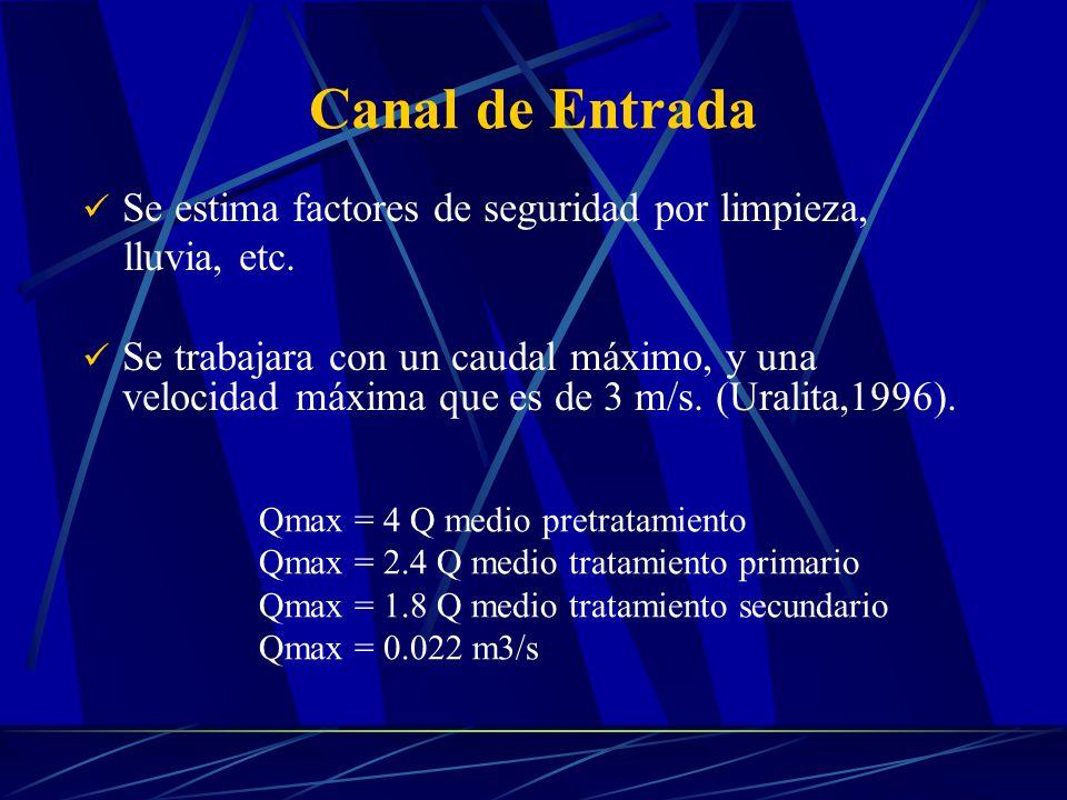 Canal de Entrada Se estima factores de seguridad por limpieza, lluvia, etc. Se trabajara con un caudal máximo, y una velocidad máxima que es de 3 m/s.