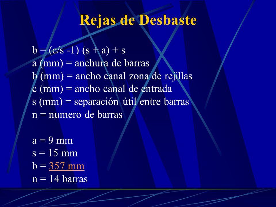 Rejas de Desbaste b = (c/s -1) (s + a) + s a (mm) = anchura de barras b (mm) = ancho canal zona de rejillas c (mm) = ancho canal de entrada s (mm) = s