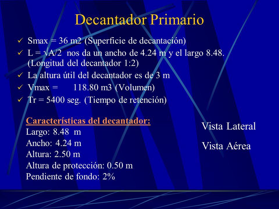 Decantador Primario Smax = 36 m2 (Superficie de decantación) L = A/2 nos da un ancho de 4.24 m y el largo 8.48. (Longitud del decantador 1:2) La altur