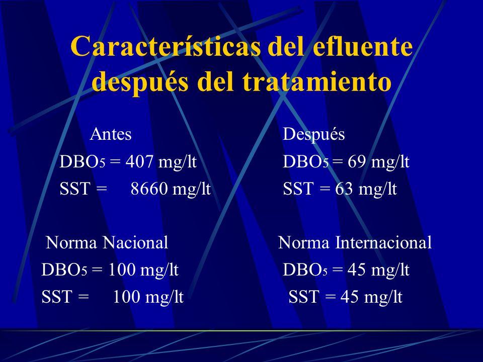 Características del efluente después del tratamiento AntesDespués DBO 5 = 407 mg/lt DBO 5 = 69 mg/lt SST = 8660 mg/ltSST = 63 mg/lt Norma Nacional Nor