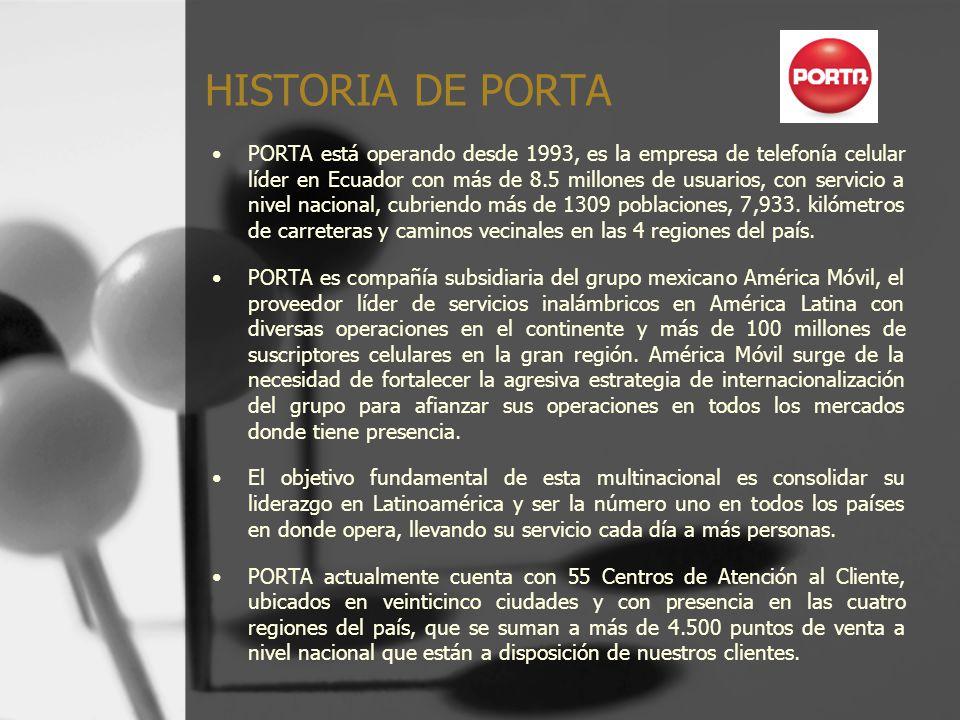 HISTORIA DE PORTA PORTA está operando desde 1993, es la empresa de telefonía celular líder en Ecuador con más de 8.5 millones de usuarios, con servici