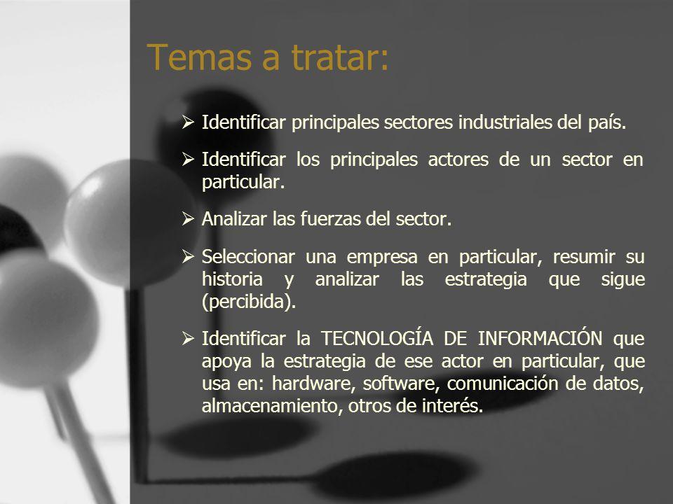 Temas a tratar: Identificar principales sectores industriales del país. Identificar los principales actores de un sector en particular. Analizar las f