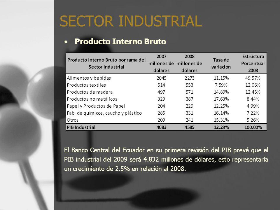 Producto Interno Bruto El Banco Central del Ecuador en su primera revisión del PIB prevé que el PIB industrial del 2009 será 4.832 millones de dólares