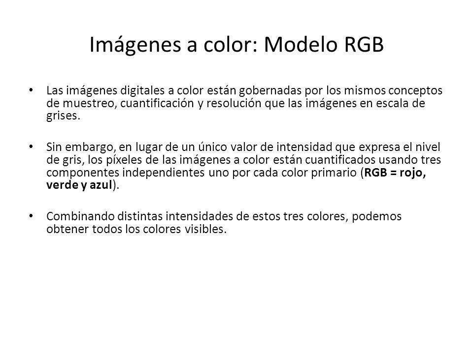 Imágenes a color: Modelo RGB Las imágenes digitales a color están gobernadas por los mismos conceptos de muestreo, cuantificación y resolución que las