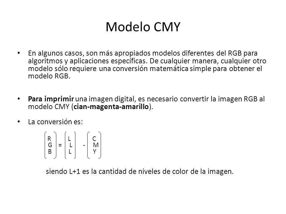 Modelo CMY En algunos casos, son más apropiados modelos diferentes del RGB para algoritmos y aplicaciones específicas. De cualquier manera, cualquier