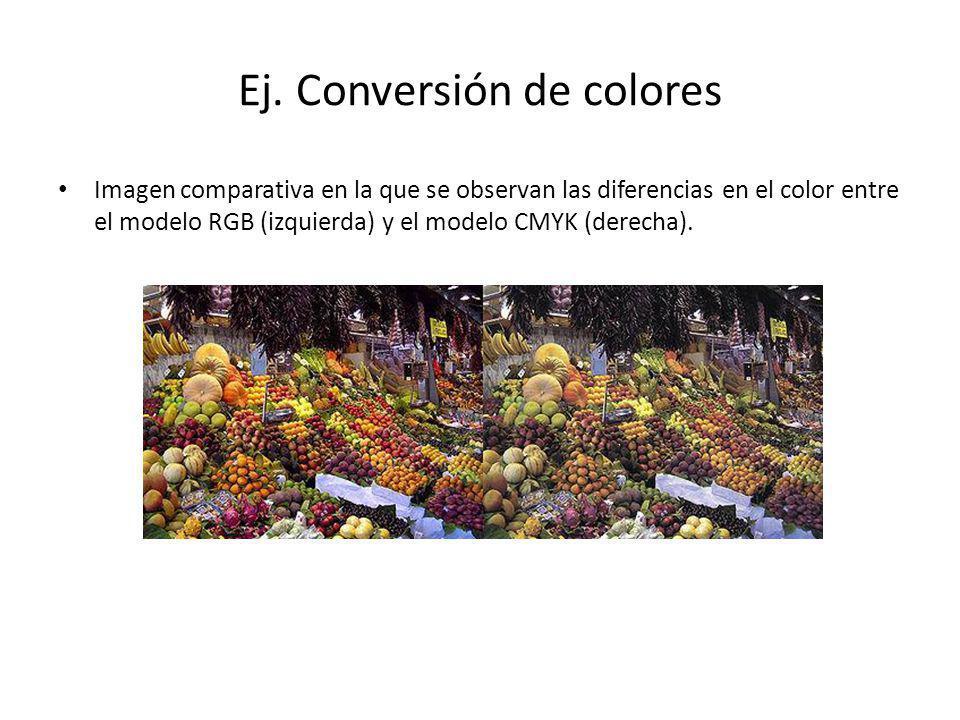 Ej. Conversión de colores Imagen comparativa en la que se observan las diferencias en el color entre el modelo RGB (izquierda) y el modelo CMYK (derec