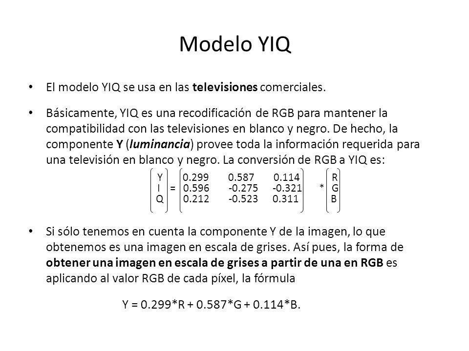 Modelo YIQ El modelo YIQ se usa en las televisiones comerciales. Básicamente, YIQ es una recodificación de RGB para mantener la compatibilidad con las