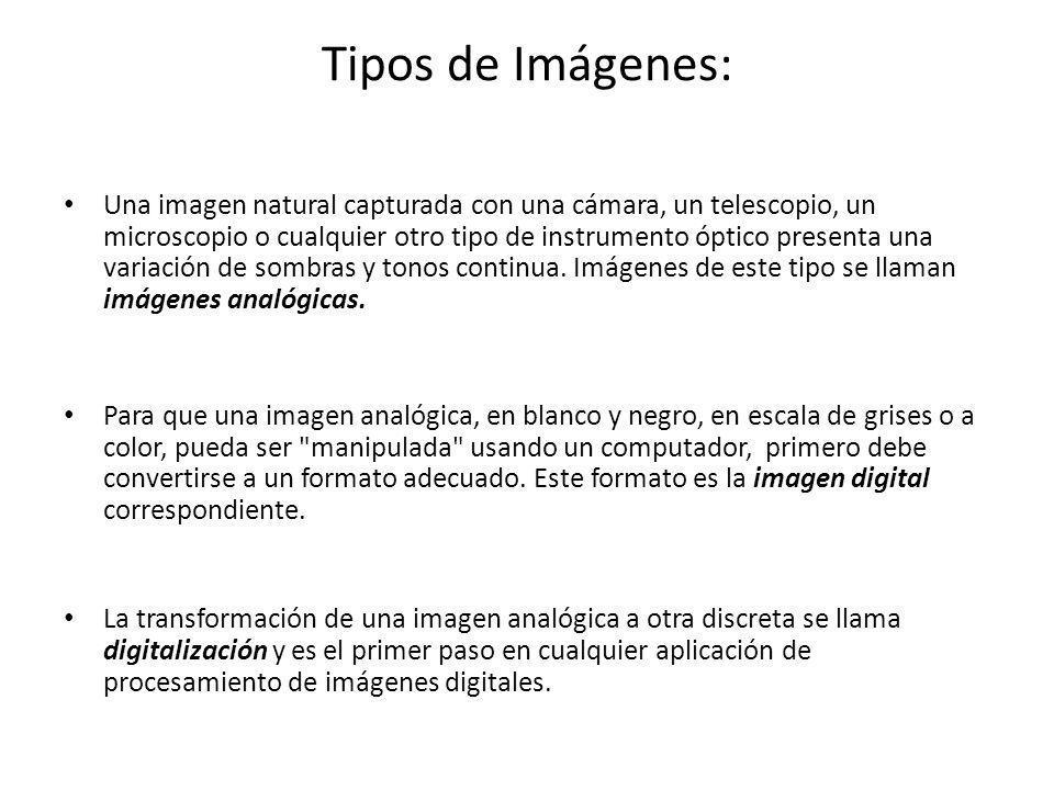 Tipos de Imágenes: Una imagen natural capturada con una cámara, un telescopio, un microscopio o cualquier otro tipo de instrumento óptico presenta una