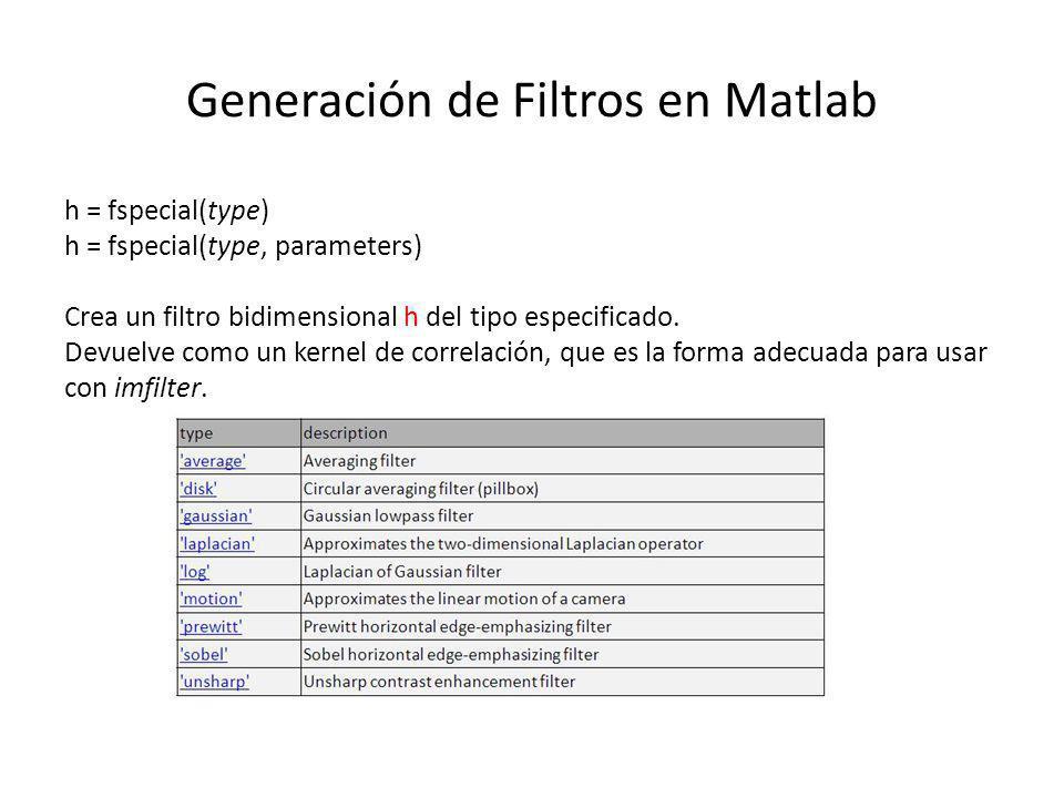 Generación de Filtros en Matlab h = fspecial(type) h = fspecial(type, parameters) Crea un filtro bidimensional h del tipo especificado. Devuelve como