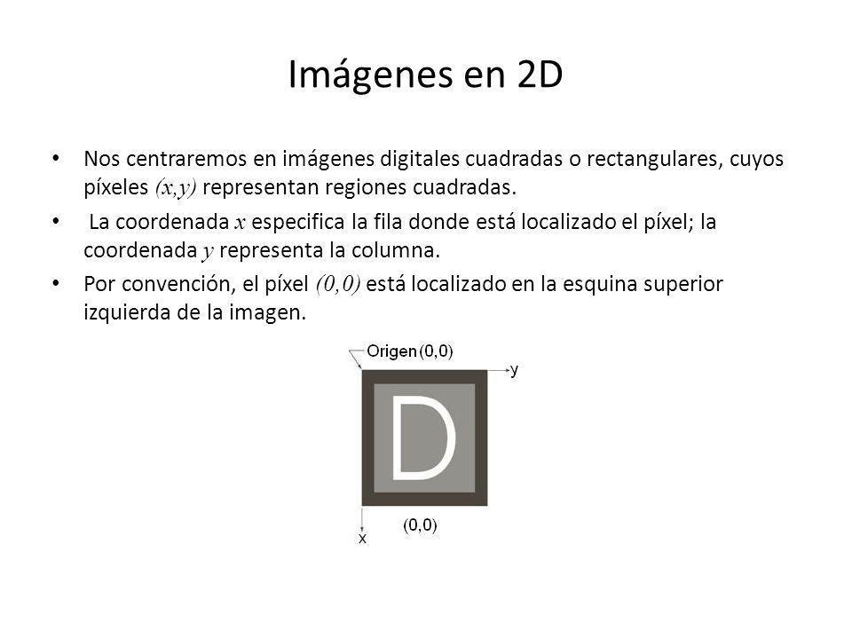 Imágenes en 2D Nos centraremos en imágenes digitales cuadradas o rectangulares, cuyos píxeles (x,y) representan regiones cuadradas. La coordenada x es