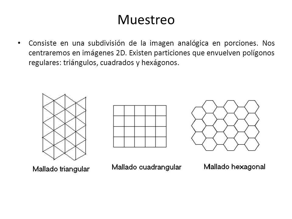 Muestreo Consiste en una subdivisión de la imagen analógica en porciones. Nos centraremos en imágenes 2D. Existen particiones que envuelven polígonos