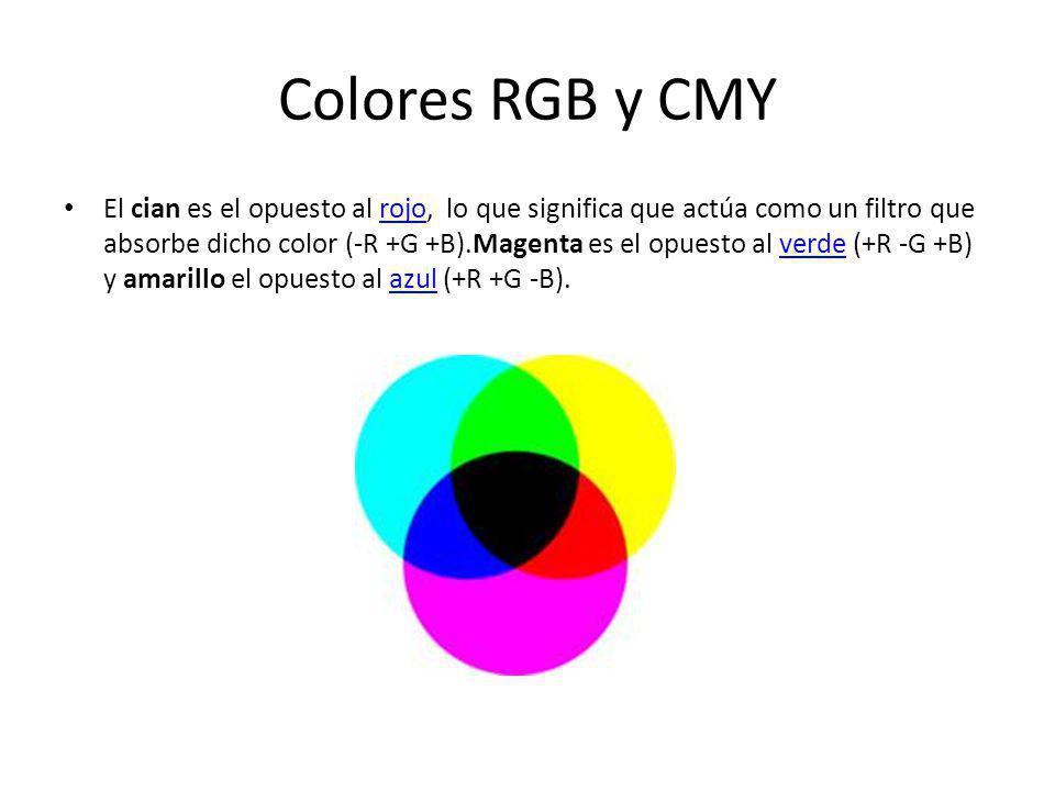 Colores RGB y CMY El cian es el opuesto al rojo, lo que significa que actúa como un filtro que absorbe dicho color (-R +G +B).Magenta es el opuesto al