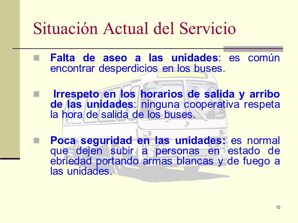 9 Situación actual del servicio de transporte Mal estado de las unidades de transporte: algunos vehículos ya cumplieron el tiempo de vida útil, indica