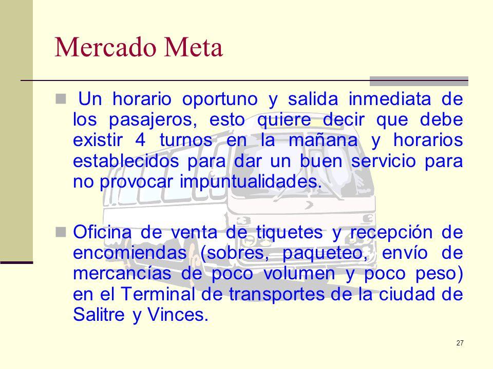 26 Mercado Meta Para el proyecto: Mejoras en el Sistema de Transporte Guayaquil-Vinces-Salitre; la estrategia de cobertura es seleccionar varios segme
