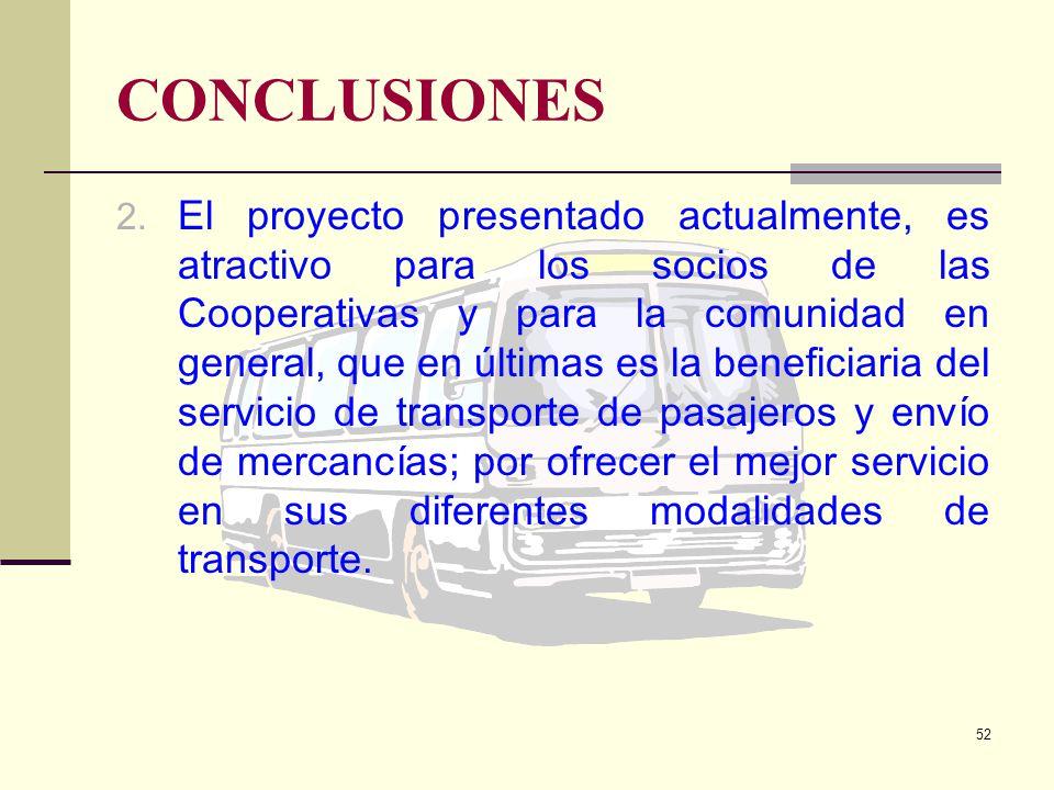 51 CONCLUSIONES 1. Las Cooperativas de transporte Rutas Salitreñas y Cooperativa de Transporte de Salitre, durante los primeros dos años de la que se
