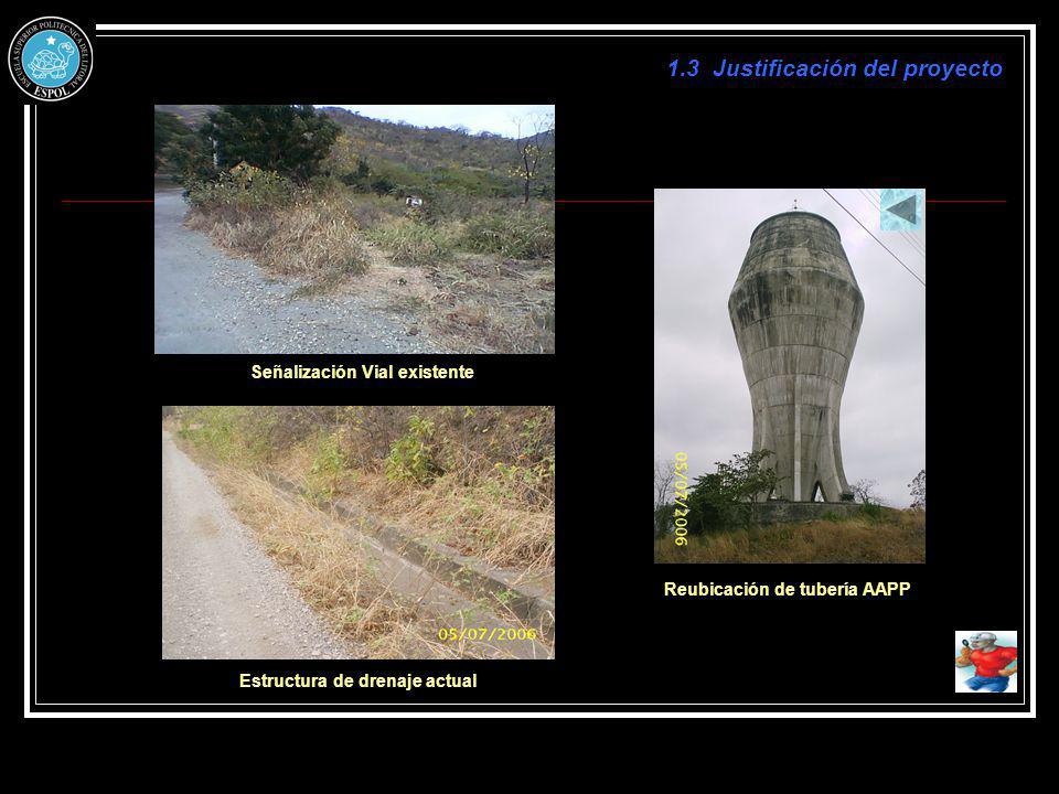 1.3 Justificación del proyecto Señalización Vial existente Reubicación de tubería AAPP Estructura de drenaje actual