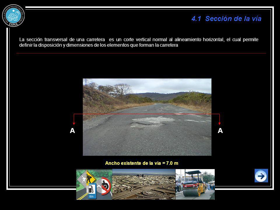 AA La sección transversal de una carretera es un corte vertical normal al alineamiento horizontal, el cual permite definir la disposición y dimensione