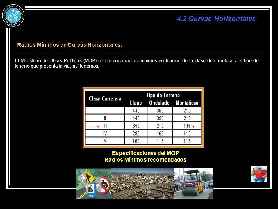Radios Mínimos en Curvas Horizontales: El Ministerio de Obras Públicas (MOP) recomienda radios mínimos en función de la clase de carretera y el tipo d