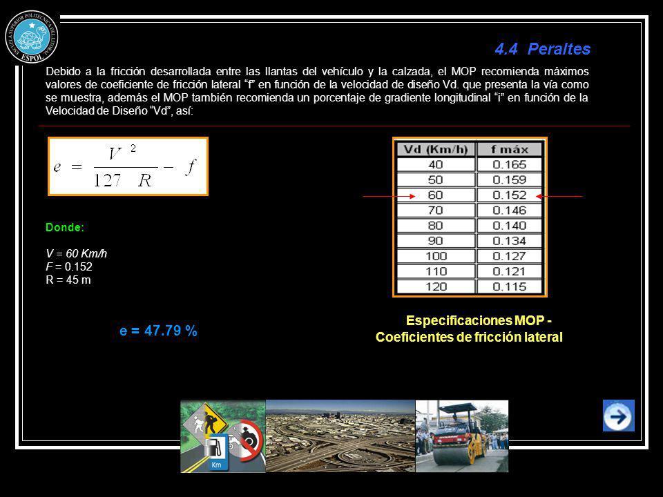 Debido a la fricción desarrollada entre las llantas del vehículo y la calzada, el MOP recomienda máximos valores de coeficiente de fricción lateral f