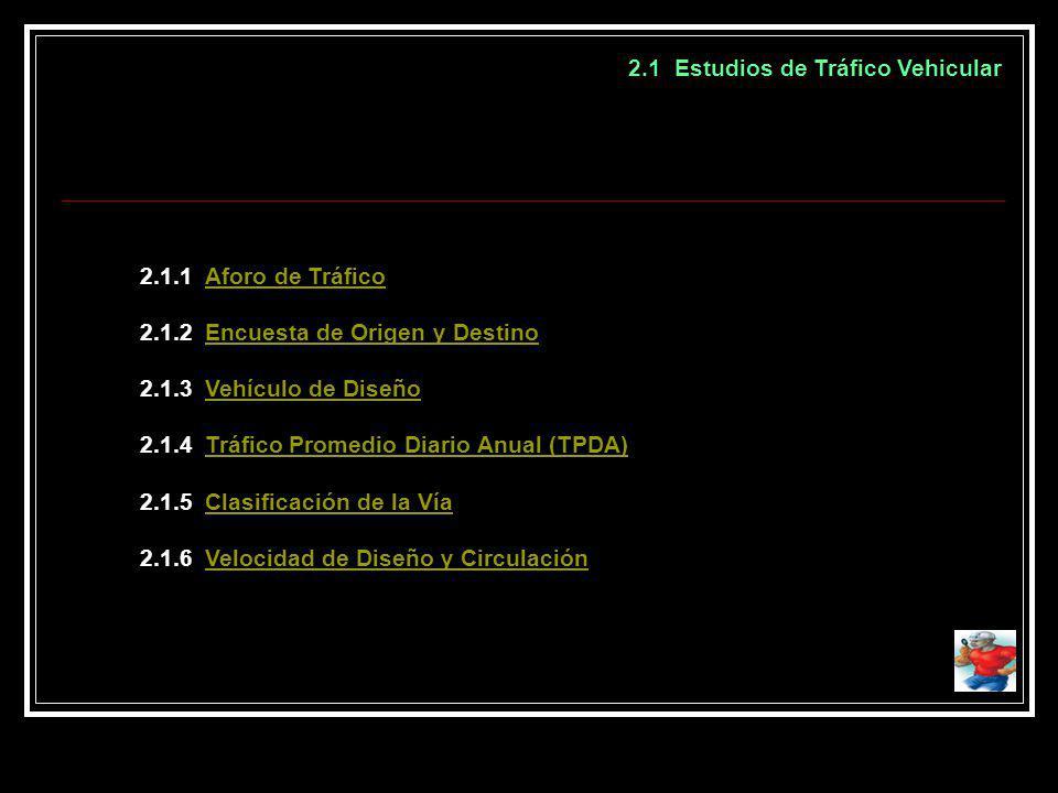 2.1 Estudios de Tráfico Vehicular 2.1.1 Aforo de TráficoAforo de Tráfico 2.1.2 Encuesta de Origen y DestinoEncuesta de Origen y Destino 2.1.3 Vehículo