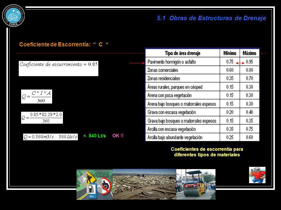 Coeficiente de Escorrentía: C Coeficientes de escorrentía para diferentes tipos de materiales < 840 Lt/s 5.1 Obras de Estructuras de Drenaje OK !!