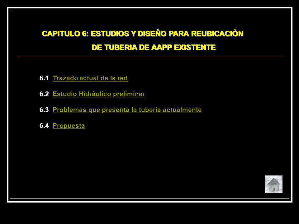 6.1 Trazado actual de la redTrazado actual de la red 6.2 Estudio Hidráulico preliminarEstudio Hidráulico preliminar 6.3 Problemas que presenta la tube