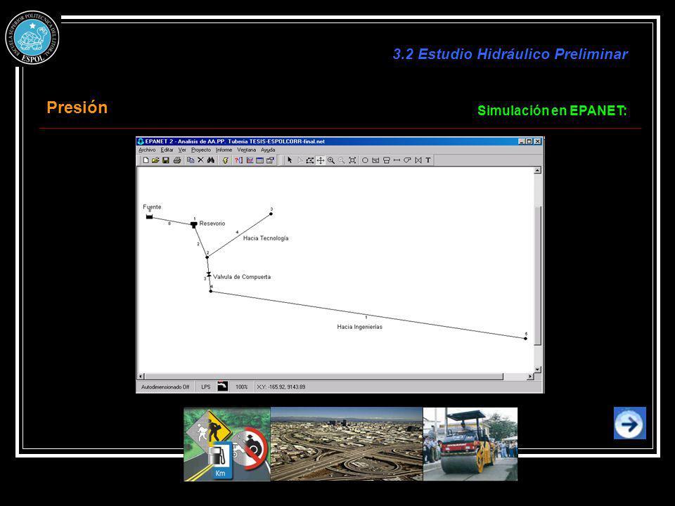 Simulación en EPANET: Presión 3.2 Estudio Hidráulico Preliminar