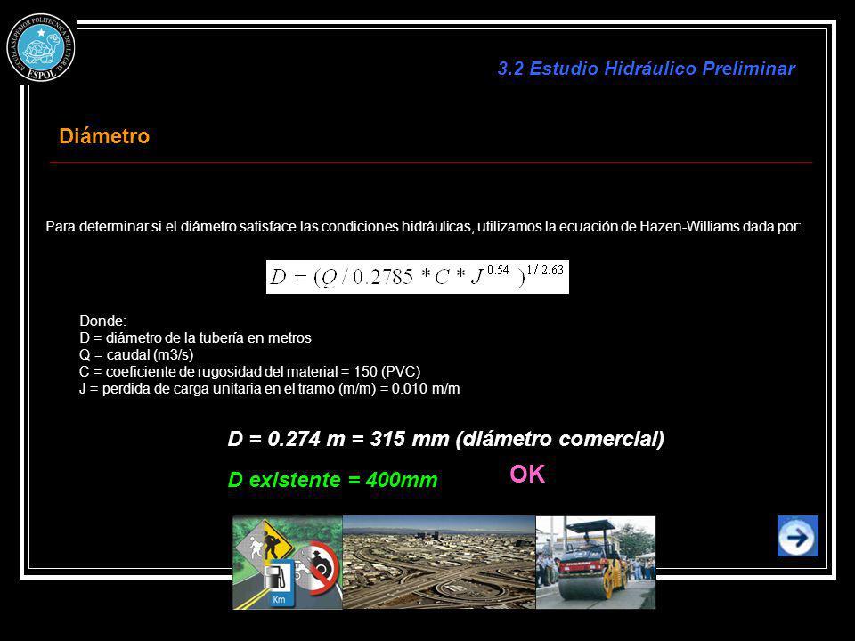 Para determinar si el diámetro satisface las condiciones hidráulicas, utilizamos la ecuación de Hazen-Williams dada por: Donde: D = diámetro de la tub