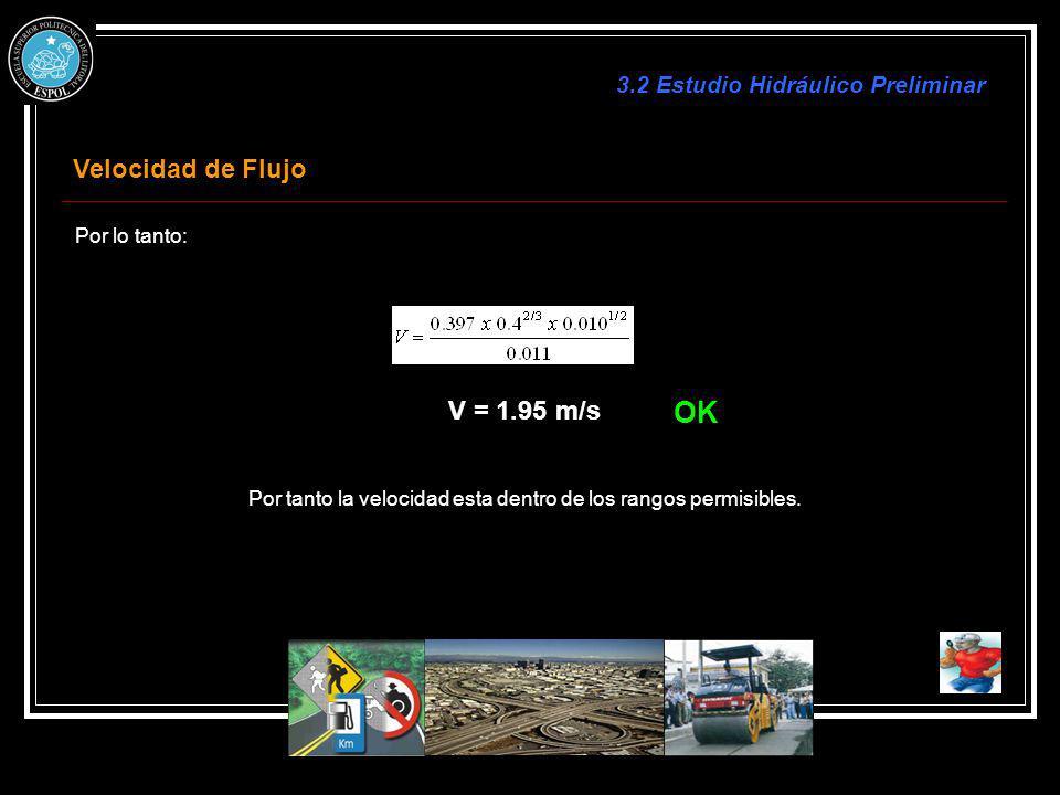 Por lo tanto: V = 1.95 m/s Por tanto la velocidad esta dentro de los rangos permisibles. Velocidad de Flujo 3.2 Estudio Hidráulico Preliminar OK