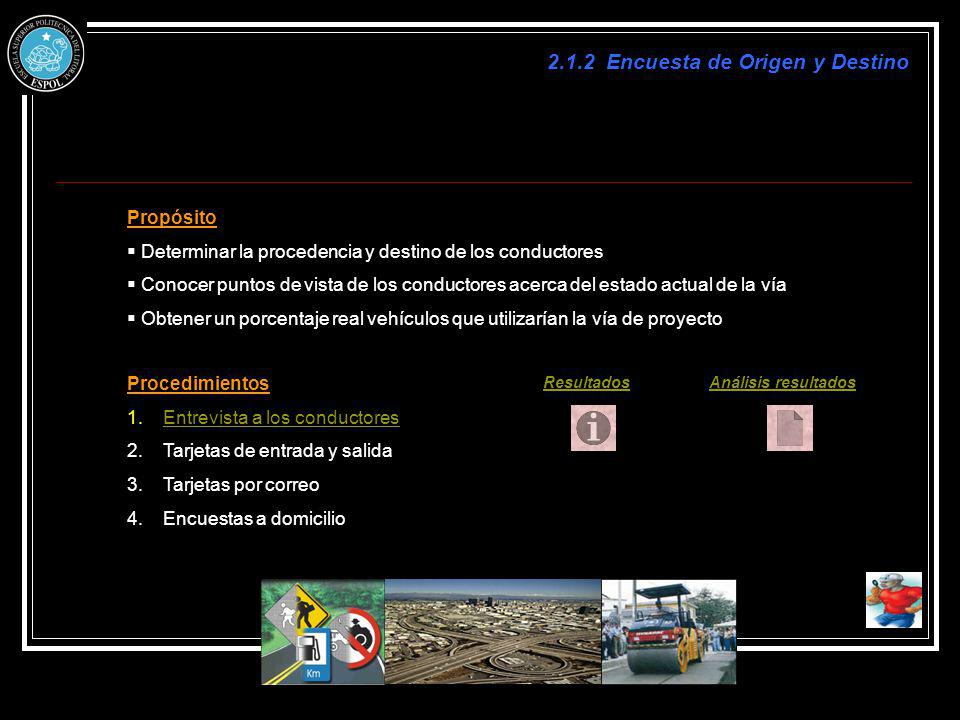 2.1.2 Encuesta de Origen y Destino Propósito Determinar la procedencia y destino de los conductores Conocer puntos de vista de los conductores acerca
