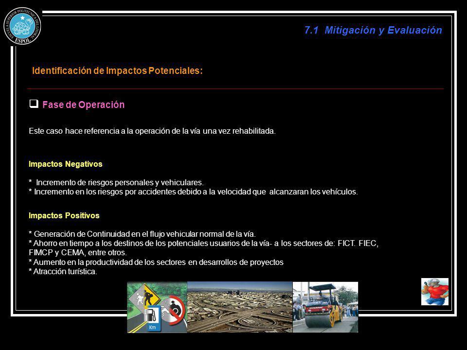 Identificación de Impactos Potenciales: Fase de Operación Este caso hace referencia a la operación de la vía una vez rehabilitada. Impactos Negativos