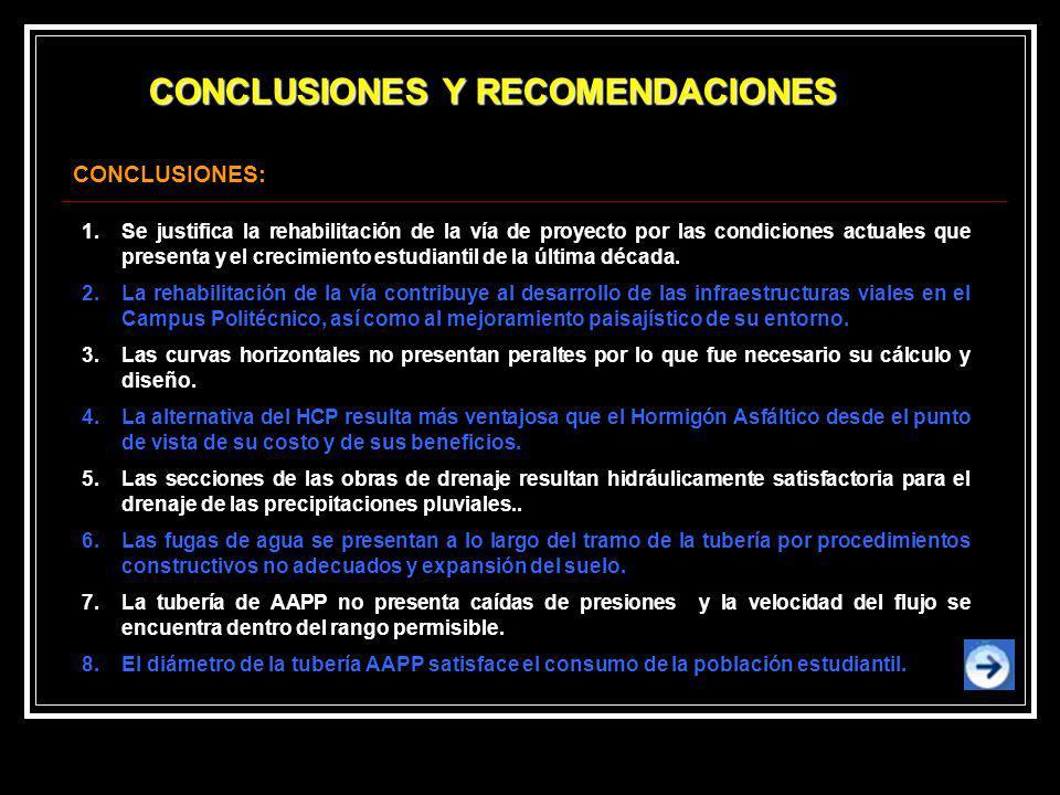 CONCLUSIONES Y RECOMENDACIONES 1.Se justifica la rehabilitación de la vía de proyecto por las condiciones actuales que presenta y el crecimiento estud