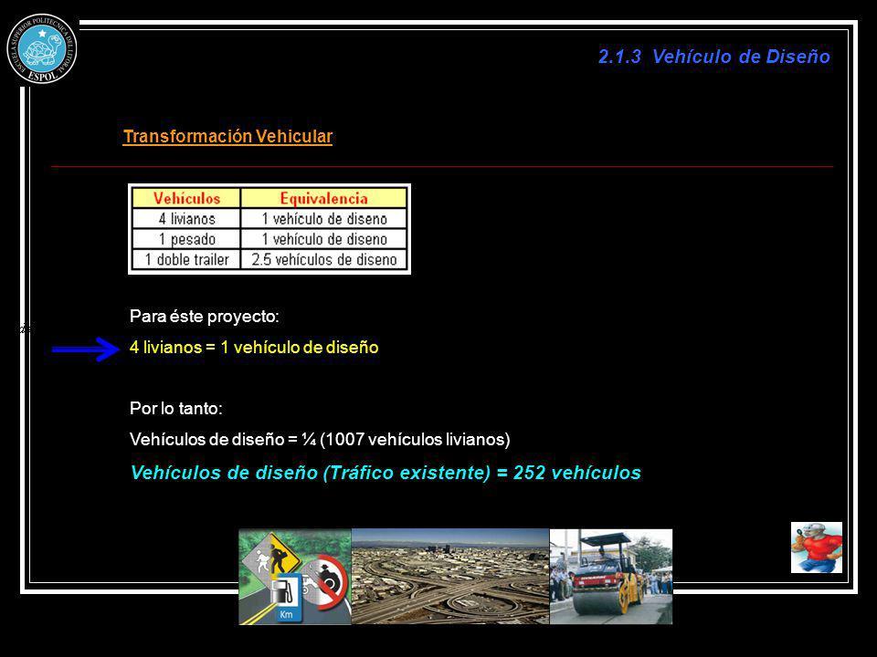 2.1.3 Vehículo de Diseño Transformación Vehicular Para éste proyecto: 4 livianos = 1 vehículo de diseño Por lo tanto: Vehículos de diseño = ¼ (1007 ve