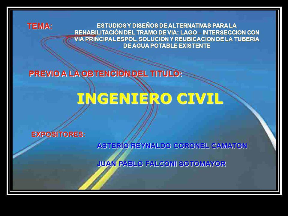 CAPITULO 1.- INTRODUCCIONCAPITULO 1 CAPITULO 2.- ESTUDIOS PRELIMINARESCAPITULO 2 CAPITULO 3.- DISEÑO DE LA ESTRUCTURA DEL PAVIMENTOCAPITULO 3 CAPITULO 4.- DISEÑO VIALCAPITULO 4 CAPITULO 5.- OBRAS COMPLEMENTARIASCAPITULO 5 CAPITULO 6.- ESTUDIO Y DISEÑO PARA REUBICACION DECAPITULO 6 TUBERIA DE AGUA POTABLE EXISTENTE CAPITULO 7.- ESTUDIOS DE IMPACTO AMBIENTALCAPITULO 7 CONCLUSIONES Y RECOMENDACIONES CONTENIDO: