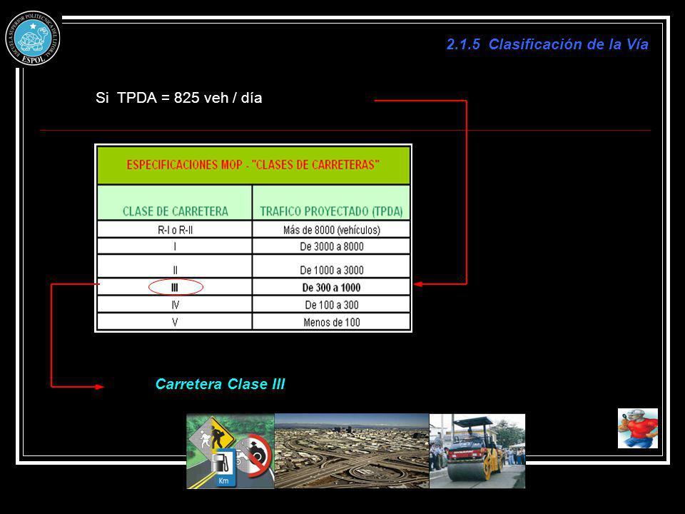 2.1.5 Clasificación de la Vía Si TPDA = 825 veh / día Carretera Clase III
