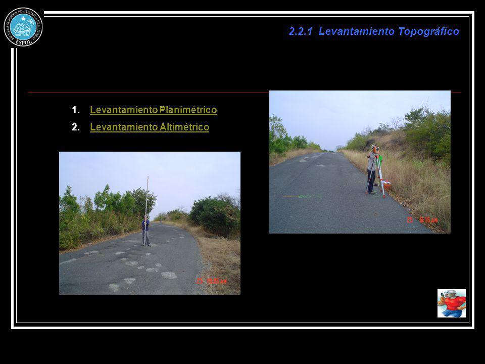 2.2.1 Levantamiento Topográfico 1.Levantamiento PlanimétricoLevantamiento Planimétrico 2.Levantamiento AltimétricoLevantamiento Altimétrico
