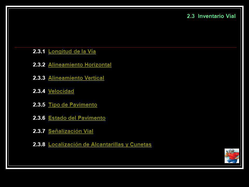 2.3 Inventario Vial 2.3.1 Longitud de la VíaLongitud de la Vía 2.3.2 Alineamiento HorizontalAlineamiento Horizontal 2.3.3 Alineamiento VerticalAlineam