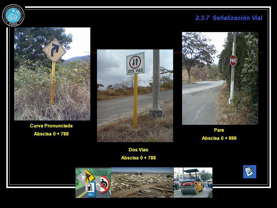 2.3.7 Señalización Vial Curva Pronunciada Abscisa 0 + 788 Dos Vías Abscisa 0 + 788 Pare Abscisa 0 + 899