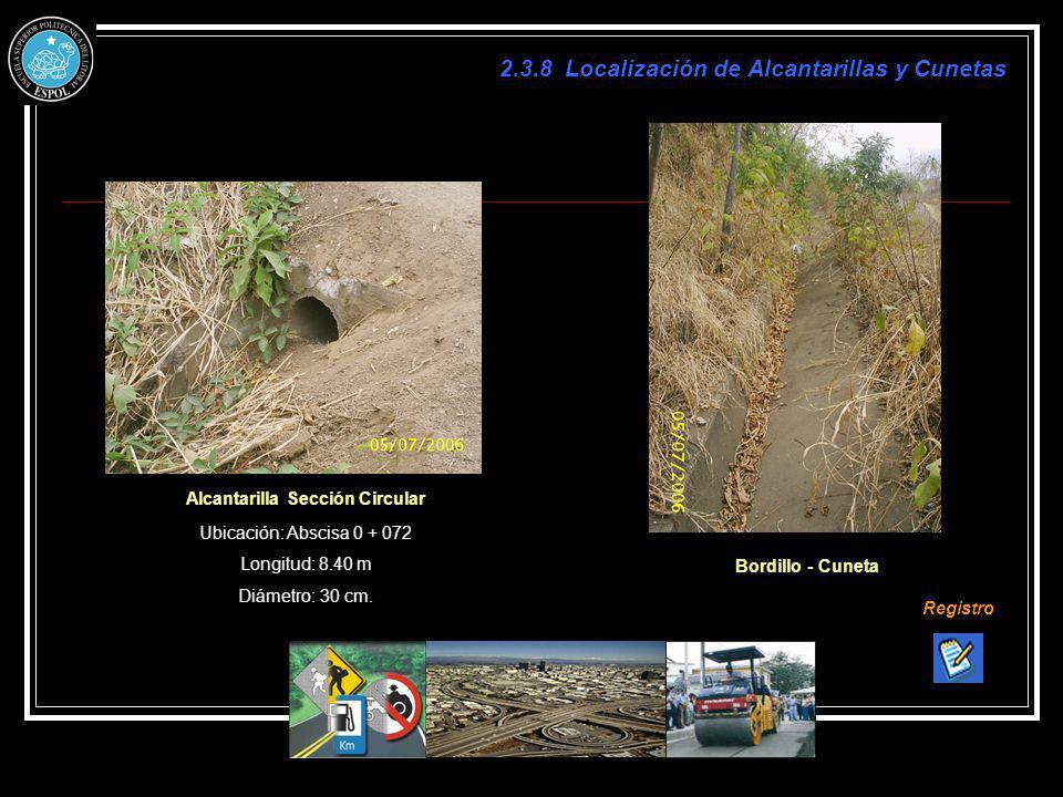 2.3.8 Localización de Alcantarillas y Cunetas Alcantarilla Sección Circular Registro Ubicación: Abscisa 0 + 072 Longitud: 8.40 m Diámetro: 30 cm. Bord