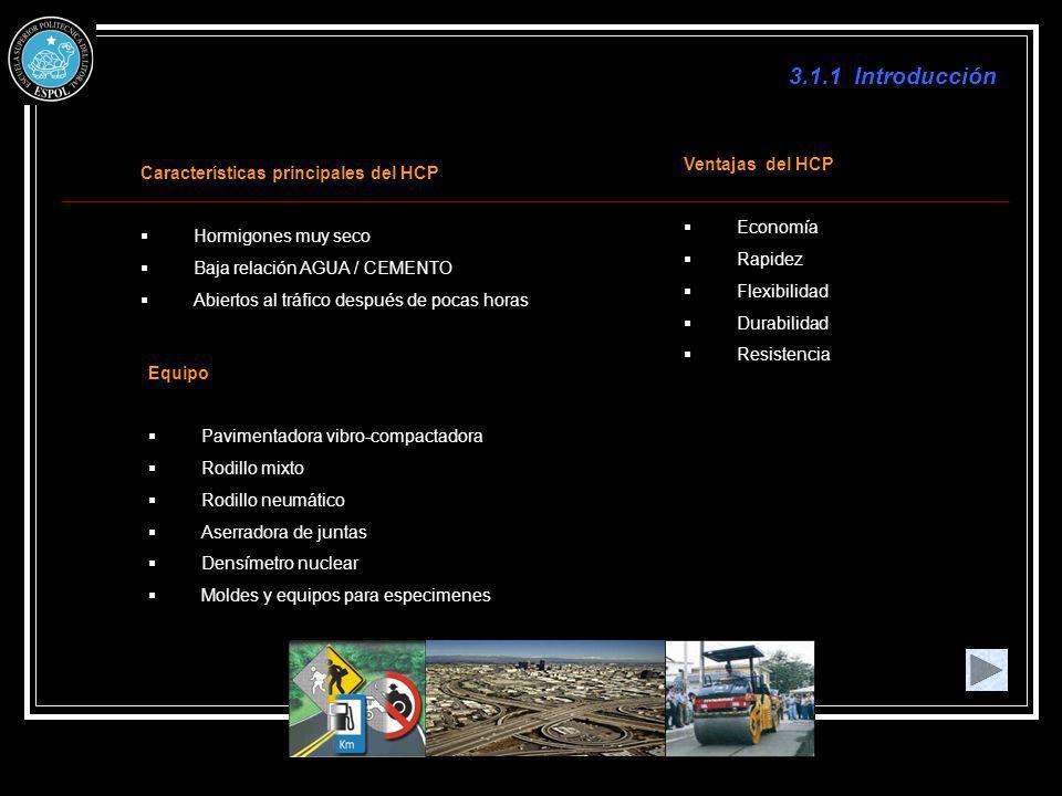 3.1.1 Introducción Características principales del HCP Hormigones muy seco Baja relación AGUA / CEMENTO Abiertos al tráfico después de pocas horas Equ